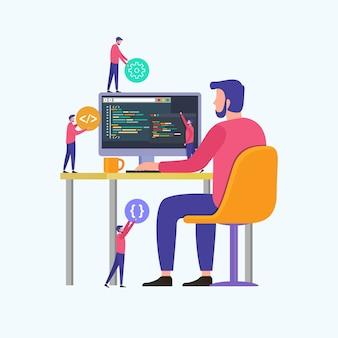 Programadores codifican el sitio web en la computadora.