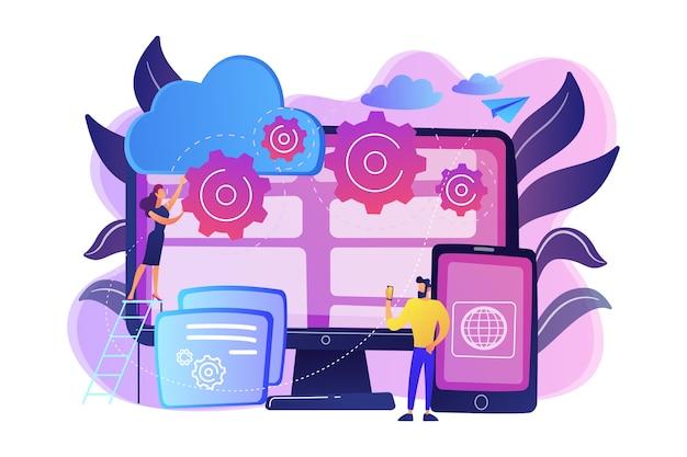 Los programadores desarrollan programas para plataformas. programación multiplataforma, desarrollo multiplataforma y concepto de estructura sobre fondo blanco. ilustración aislada violeta vibrante brillante