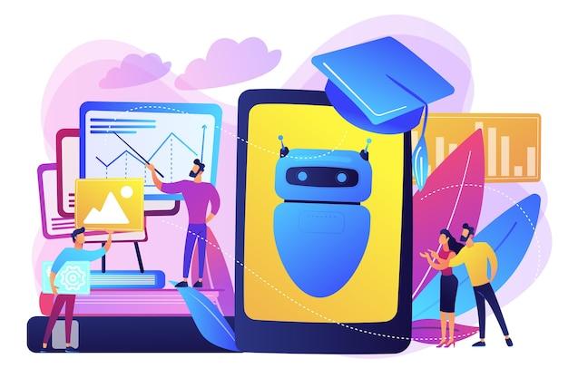 Los programadores con gráficos hacen que el chatbot aprenda datos de resultados anteriores. autoaprendizaje de chatbot, aprendizaje de asistentes virtuales, concepto de aprendizaje automático de ia. ilustración aislada violeta vibrante brillante