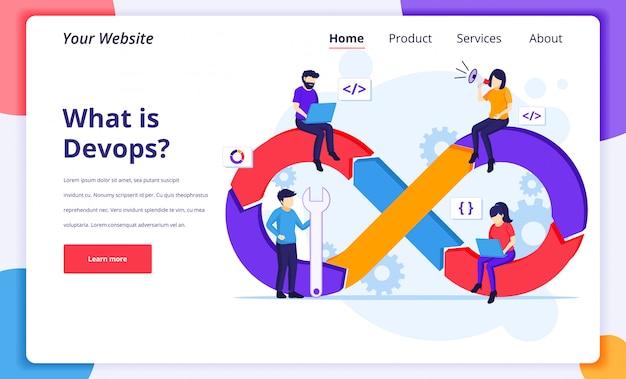 Programadores en la ilustración del concepto de trabajo, desarrollo de software con caracteres para la página de inicio del sitio web