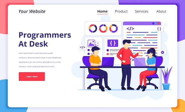 Programadores en la ilustración del concepto de trabajo, las personas trabajan en la programación y codificación de portátiles para la página de inicio del sitio