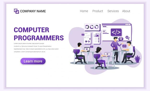 Programadores informáticos y desarrollador para plantilla de página de destino.