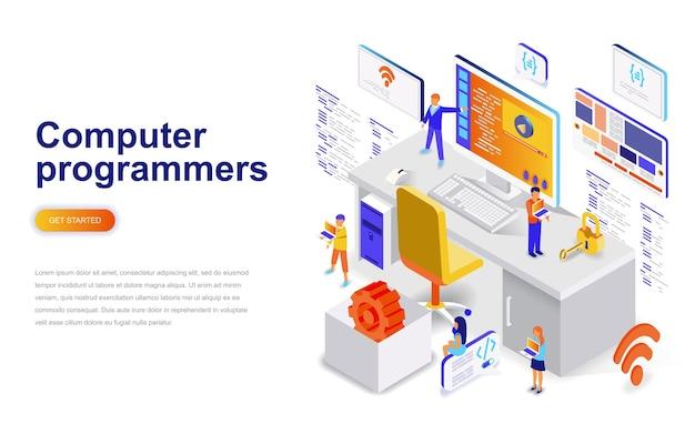Programadores informáticos moderno diseño plano concepto isométrico.