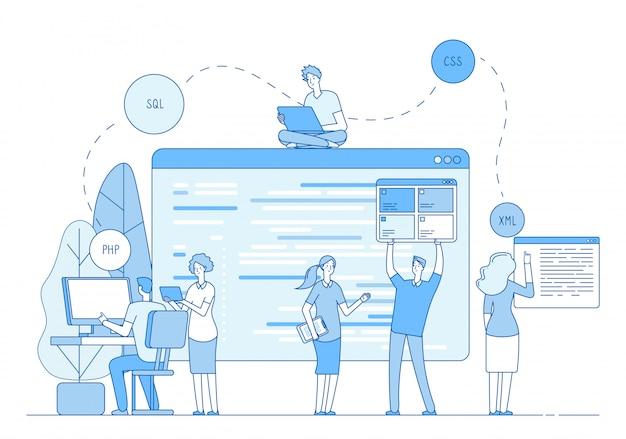Programadores que codifican el sitio web. los codificadores escriben el código fuente en la pantalla en la ventana. php css ingeniero er línea de soporte