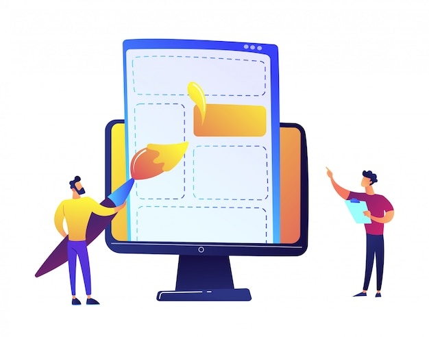 Los programadores que dibujan elementos de la página web con el cepillo en la pantalla lcd vector la ilustración.