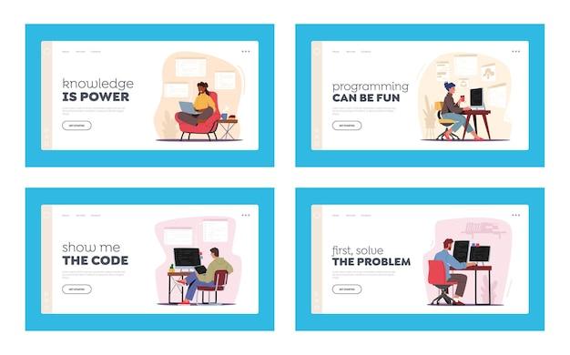 Programadores que trabajan conjunto de plantillas de página de destino