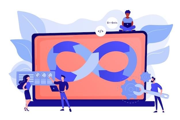 Programadores trabajando en proyecto. metodología de desarrollo de sitios web. soporte técnico