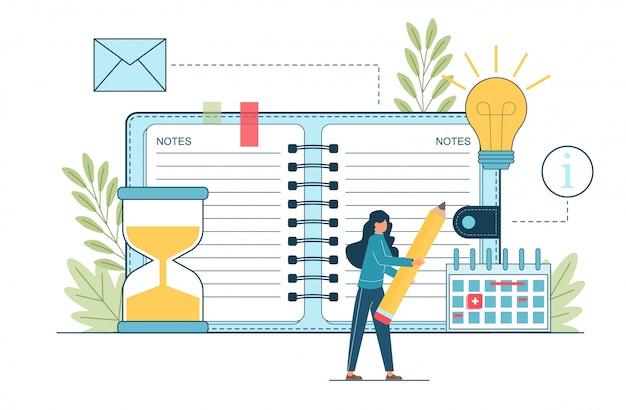 Programar eventos. planificación de personas de negocios, eventos, noticias, recordatorio horario en línea.