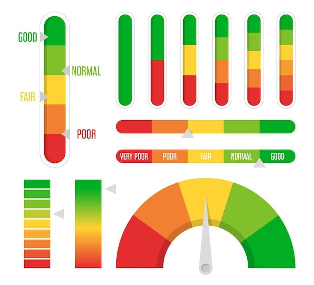 Progreso de color, conjunto de indicadores de nivel