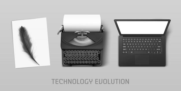 Progreso tecnológico de pluma a computadora portátil