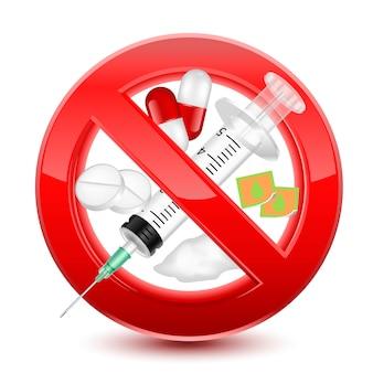 Prohibido no drogas signo rojo