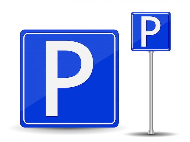 Prohibir el estacionamiento. señal de carretera roja y azul.