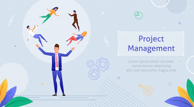 Project management business multitarea de trabajo en equipo. modelo