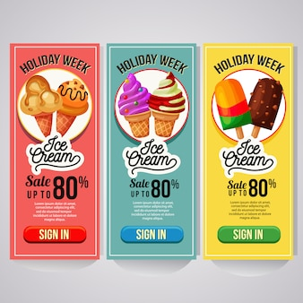 Promo de helado de tres sitios web de banner vertical