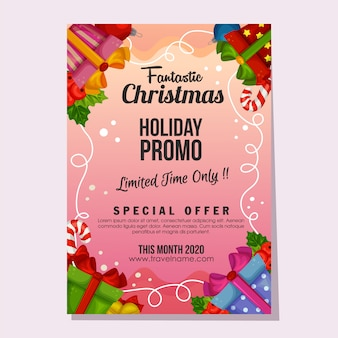 Promo navidad fantástico venta vacaciones cartel o plantilla de volante