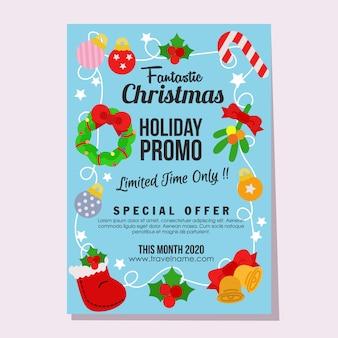 Promo navidad muñeco de nieve venta fantástica vacaciones cartel elemento plano