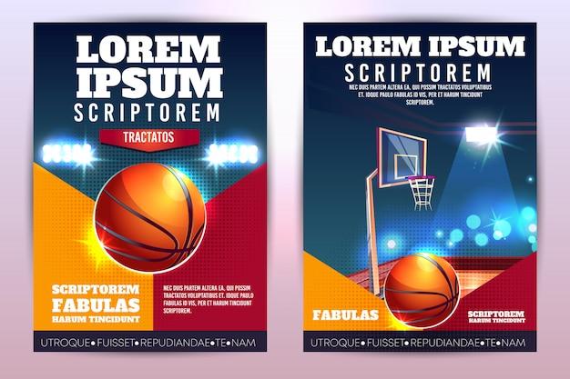 Promo del torneo de baloncesto cartel vertical o folleto con pelota de baloncesto y aro
