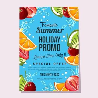 Promo de vacaciones de verano ilustración de cartel de fruta fresca