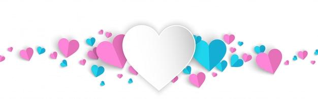 Promo de venta de fondo de banner de san valentín con estilo de corte de papel de corazón