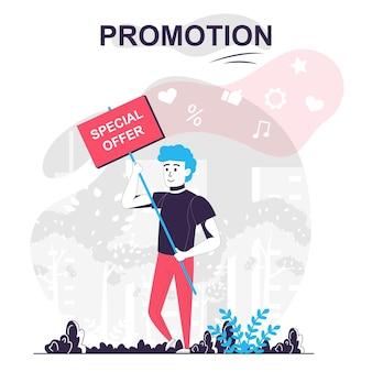 Promoción aislada concepto de dibujos animados el hombre anuncia una oferta especial que atrae a los compradores de marketing