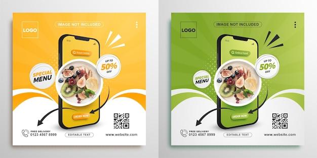 Promoción de alimentos en línea con banner cuadrado móvil para publicación en redes sociales.