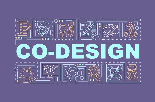 Promoción de banner de conceptos de palabra de ideas conjuntas. redes sociales, foros y portales online. infografía con iconos lineales sobre fondo violeta. tipografía aislada. esquema ilustración en color rgb