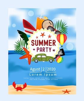 Promoción de banner diseño de fiesta de verano.