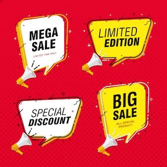 Promoción de banner de gran venta con globo de discurso