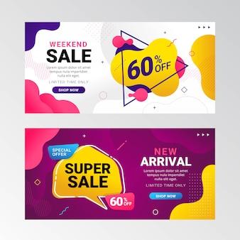 Promoción de banner de venta colorido con gradiente fluido