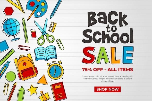 Promoción de banner de venta de regreso a la escuela