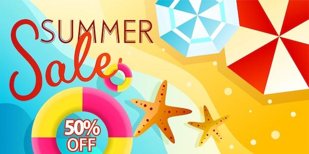 Promoción de banner de venta de verano con ilustración de playa