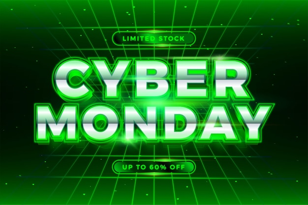 Promoción de banners de moda venta en línea cyber monday con texto verde 3d realista