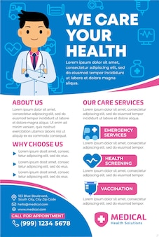 Promoción de carteles médicos en estilo de diseño plano