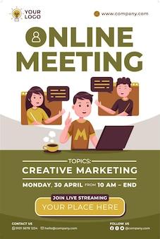 Promoción de carteles de reuniones en línea en estilo de diseño plano
