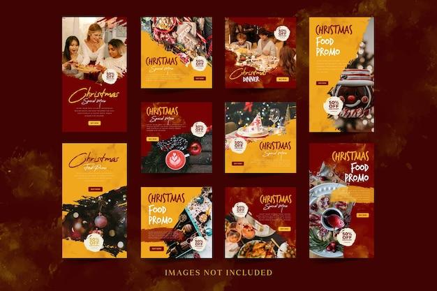 Promoción de comida navideña en redes sociales para publicación de instagram y plantilla de historia