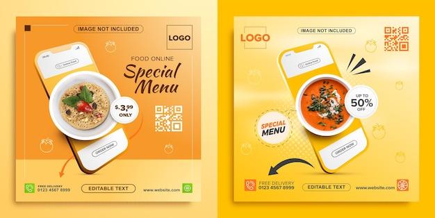 Promoción de comida online con plantilla de banner cuadrado móvil