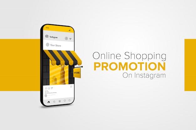 Promoción de compras en línea en la aplicación móvil de redes sociales.