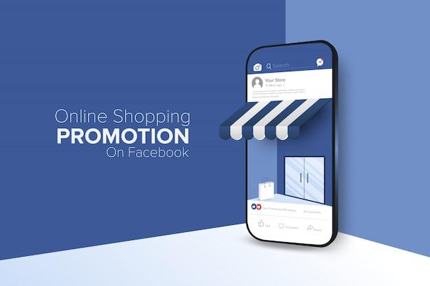 Promoción de compras en línea en la aplicación de redes sociales.