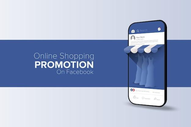 Promoción de compras en línea en el concepto de aplicación de redes sociales con texto editable