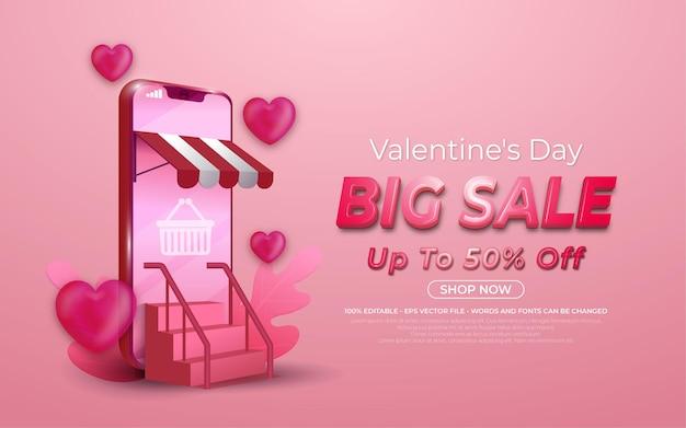 Promoción de compras en línea de gran venta editable de san valentín