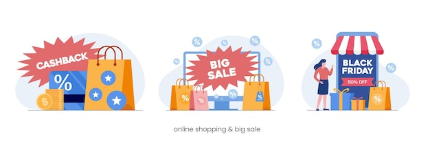 Promoción de compras en línea gran venta, estrategia de marketing, devolución de dinero, ilustración vectorial plana