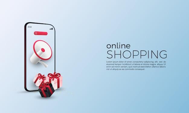 Promoción de compras en línea con megáfono en concepto móvil