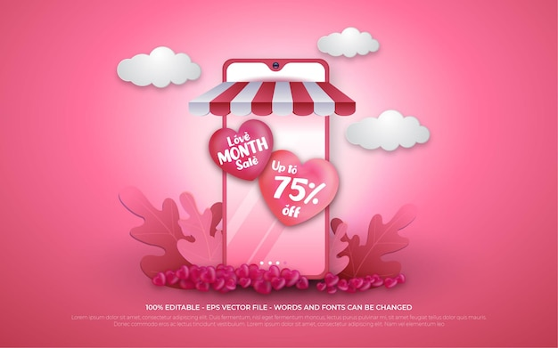 Promoción de compras en línea de venta editable del mes del amor