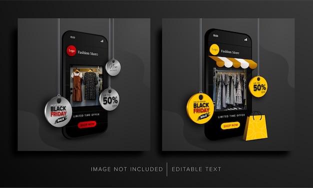 Promoción de compras en línea del viernes negro en la aplicación móvil