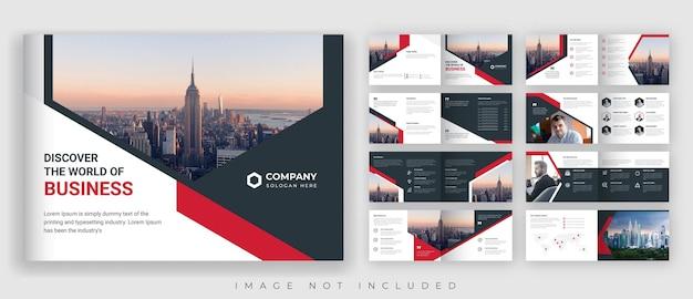 Promoción corporativa o empresarial moderna folleto horizontal de 16 páginas en rojo