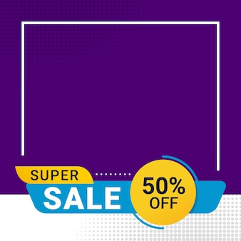 Promoción de descuento de banner de super venta con espacio de texto