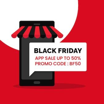Promoción de descuento de venta de aplicaciones de viernes negro cartel de redes sociales