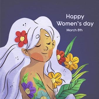 Promoción del día internacional de la mujer en acuarela.