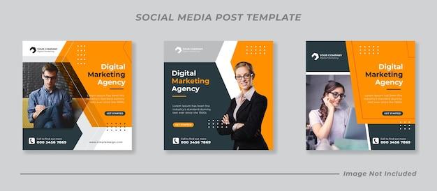Promoción empresarial y plantilla de banner de redes sociales corporativas o folleto cuadrado