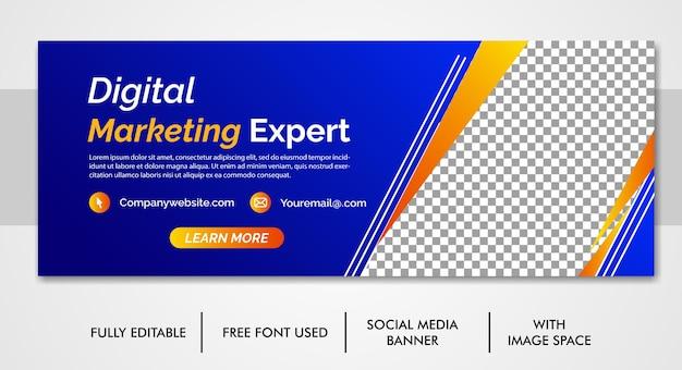Promoción empresarial y plantilla de portada de redes sociales corporativas